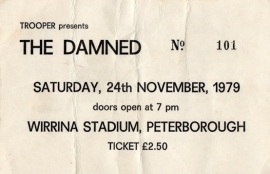 The Damned ticket for Wirrina Stadium in Peterborough, 1979